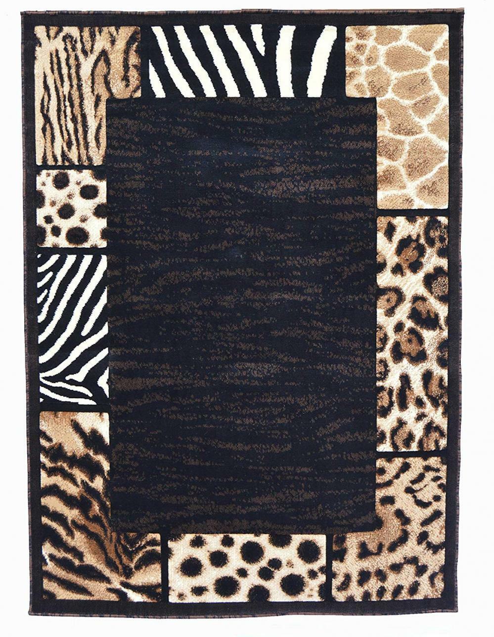 Leopard Zebra Border Runner Rugs