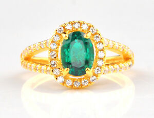 1-55Ct-14KT-Solid-Yellow-Gold-Natural-Green-Emerald-EGL-Certified-Diamond-Ring
