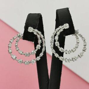 2-75-CT-14K-White-Gold-D-VS1-VS2-Diamond-Hoop-Earrings-Round-Cut