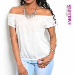 New-Sexy-Latina-Off-Shoulder-Top-Ladies-Casual-Shirt-Blouse-Sz-4-6-8-10-12-S-M-L