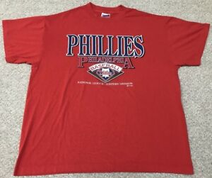 8ad9fc4b6 Vintage 1993 Philadelphia Phillies Trench T-Shirt XL Extra Large Red ...