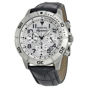 Invicta-Signature-II-Chronograph-Silver-tone-Dial-Black-Leather-Mens-Watch-7283