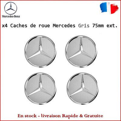 x4 Logo Cache Moyeu Centre De Roue emblème 75mm Mercedes Gris Neuf