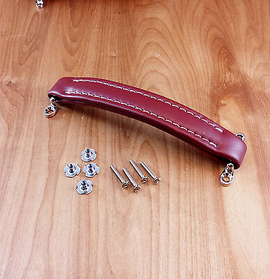 Burgundy vintage style leather look amp handle