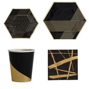 Polka-Dot-Sky-Black-amp-Gold-Foil-Birthday-Party-Tableware-Pack-Paper-Plates-Cups