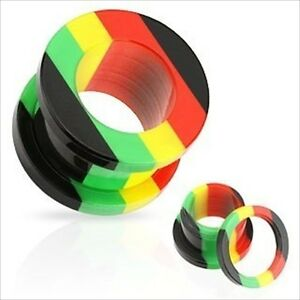 1 Pair Jamaican Rasta Acrylic-screw Fit Ear Plugs-tunnels-gauges Un BoîTier En Plastique Est Compartimenté Pour Un Stockage En Toute SéCurité