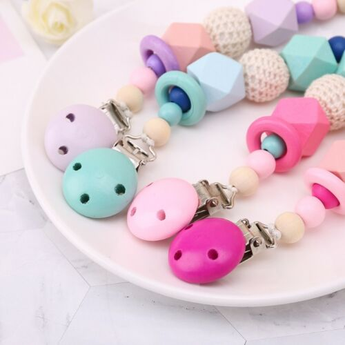 Wooden Soother Silicone Holder Kids Baby Chew Pacifier Clip Teething Dummy Cute