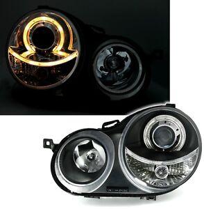 DEPO-Angel-Eyes-Scheinwerfer-Set-LWR-fuer-VW-POLO-9N-8-01-6-05-in-Schwarz