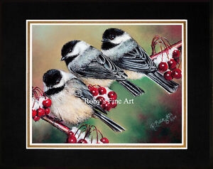 Matted-Black-Capped-Chickadee-Art-Print-034-Berry-Cute-034-8-034-x-10-034-Mat-by-Roby-Baer