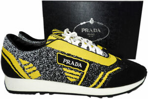 prada men's low top neoprene sneakers lace up black yellow