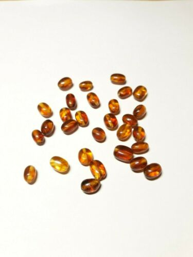 Natural Baltic Amber Loose Beads Olive Style Polished 25-50-100 Pcs 3 color