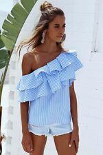 Fashion Off Shoulder Women Summer Tank Tee Loose T-Shirt Casual Tops Blouse M