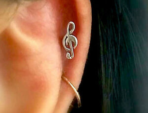 Image Is Loading 16g Treble Clef Cartilage Earrings Music Notes Stud