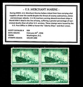 1946-MERCHANT-MARINE-Mint-NH-Block-of-Four-Vintage-U-S-Postage-Stamps