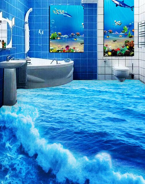 3D Blau Ocean Surfing 83 Floor WallPaper Murals Wall Print Decal AJ WALLPAPER US