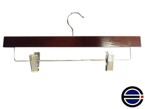 """Walnut 100 14/"""" Flat Wood Retail Pant or Skirt Hangers w chrome bar and clips"""