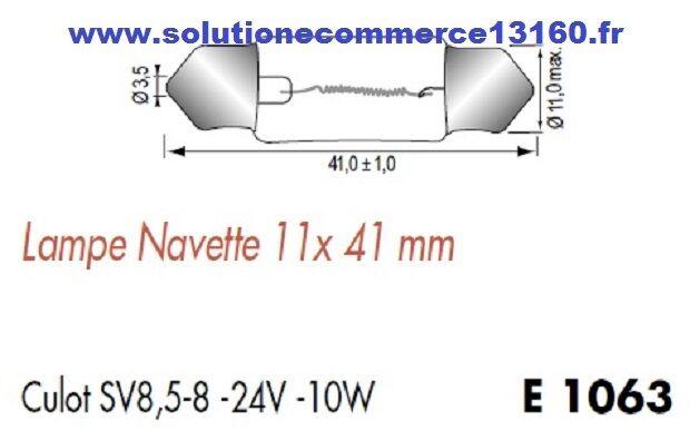 LOT 5 LAMPE NAVETTE 11X41 mm 24V 24 SV8,5-8 Volts 10W culot SV8,5-8 24 AMPOULE 8ace0a