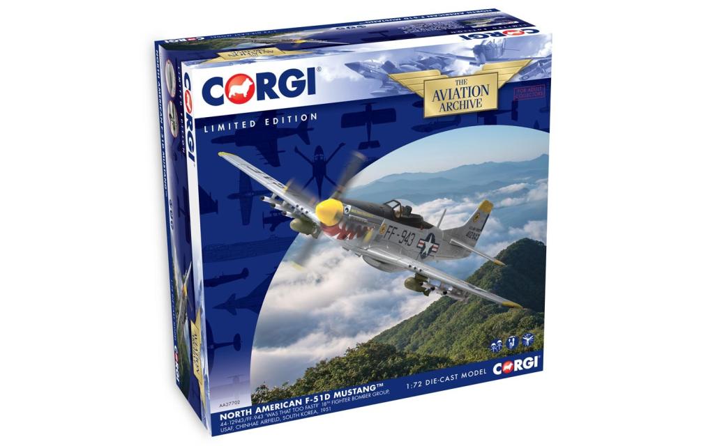 CORGI aa27702 NORTH AMERICAN F-51D MUSTANG 44-12943   ff-943. scala scala 1 72