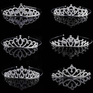 Wedding-Bridal-Tiara-Rhinestone-Crystal-Crown-Pageant-Prom-Veil-Comb-Headband