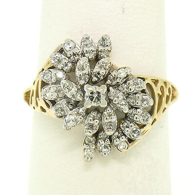 14k Yellow Gold .50ctw Round Brilliant Diamond Spiral Cluster Ring w/ Open Sides