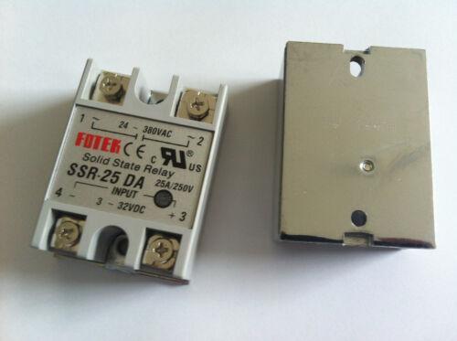 2pcs Solid State Relay SSR-25DA 25A //250V 3-32V DC Input 24-380VAC Output NEW