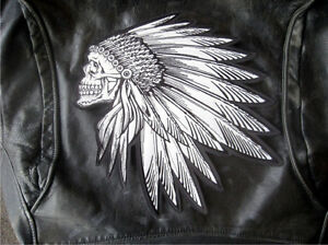 Indian Skull Patch 3m Reflective Biker  Patch  11x11inches
