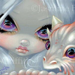 Fairy-Face-197-Jasmine-Becket-Griffith-Art-white-dragon-faery-SIGNED-6x6-PRINT