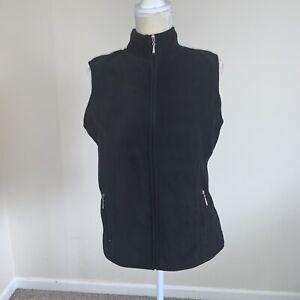 Karen-Scott-Sport-Women-s-Black-zip-up-fleece-vest-size-Small-N172