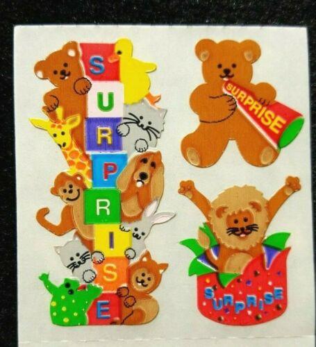 •RARE 80s Sandylion Vintage Sticker SURPRISE Animals Bear FULL STRIP of 3 KK213