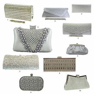 Details about New Silver Metallic Grey Clutch Bags Diamante Wedding Hard Case Lace Pearls