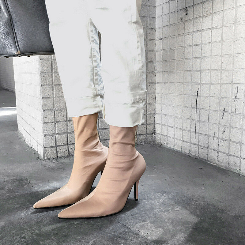 Fashion Women Ladies Elastic Sock Boots Pointed Toe shoes shoes shoes Slim High Heel Booties 805706