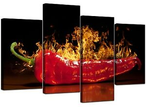 Kitchen Canvas Wall Art large red chilli kitchen canvas wall art pictures 130cm prints