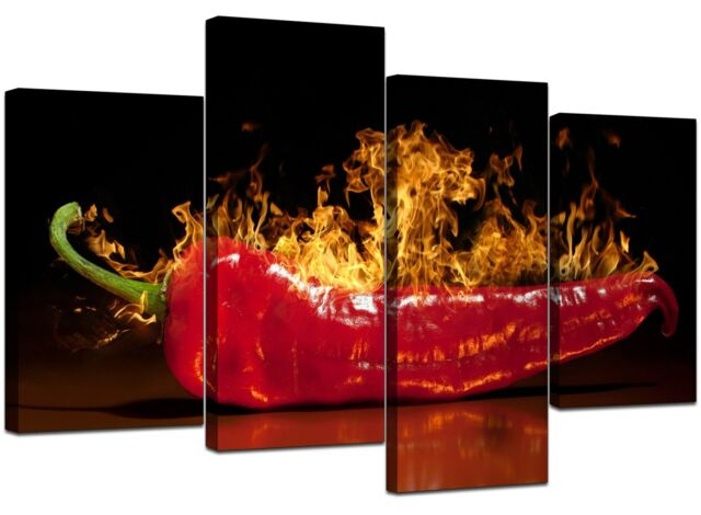 Large Red Chilli Kitchen Canvas Wall Art Pictures 130cm Prints 4132