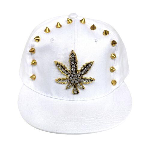 Hiphop Bling Hats Cap Caps Stud leaf White 003 Flat Baseball Snapback Peak BBf5Fq