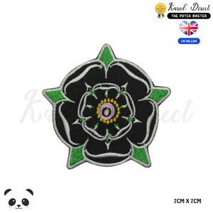 Yorkshire-Rose-Black-Embroidered-Iron-On-Sew-On-Patch-Badge-For-Clothes