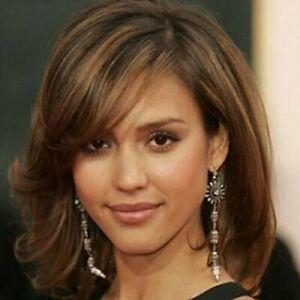 100-Human-Hair-Charming-Capless-Medium-Short-Brown-Mixed-Wavy-Wig-Real-Hair