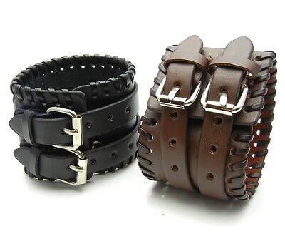TEW172 - 2 Buckles Short Bracer Arm Armor Cuff Wristband Bracelet - 1pcs