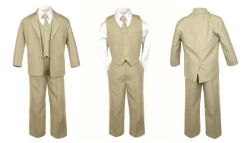 5pc Boy Toddler Kid Teen Wedding Khaki Blazer Formal Tuxedo Suit Set S-20