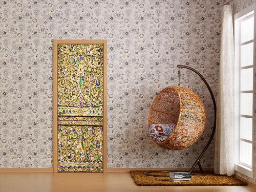 3D Door Sticker Mural Elegant Pattern Removable Self-adhesive Wallpaper Decor