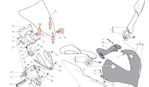 3x Titanium Gold Windscreen Screen Screws for Ducati Supersport 939