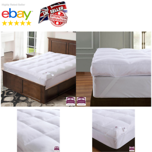 Goose-Feather-Down-Mattress-Topper-Enhancer-Luxury-10cm-Deep-Bed-Protector-Hotel
