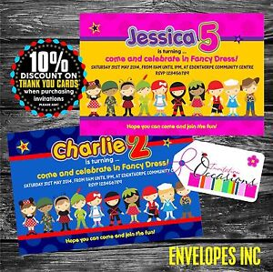 Personalised Birthday Invitations Fancy Dress Party x 5