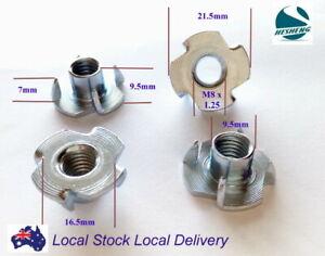 MADONG 80Pcs Zinc Plated Steel T-Nut 4 Pronged Tee Blind Insert Nuts Assortment M3//M4 //M5//M6//M8