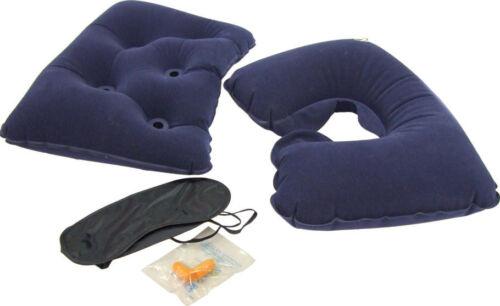 Neck Support Cushion Eye Mask /& Ear Plugs Comfort Travel Kit Set Lumbar Pillow