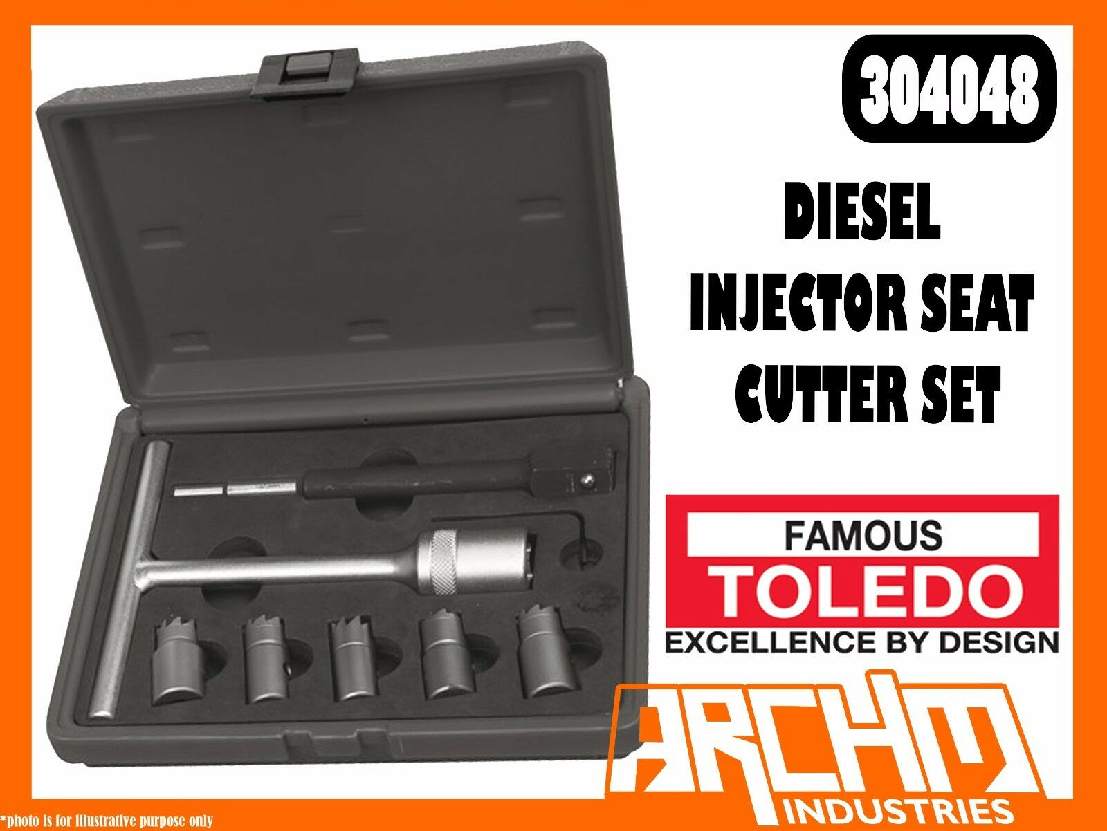 TOLEDO 304048 - DIESEL INJECTOR SEAT CUTTER SET - CYLINDER HEAD CLEANING