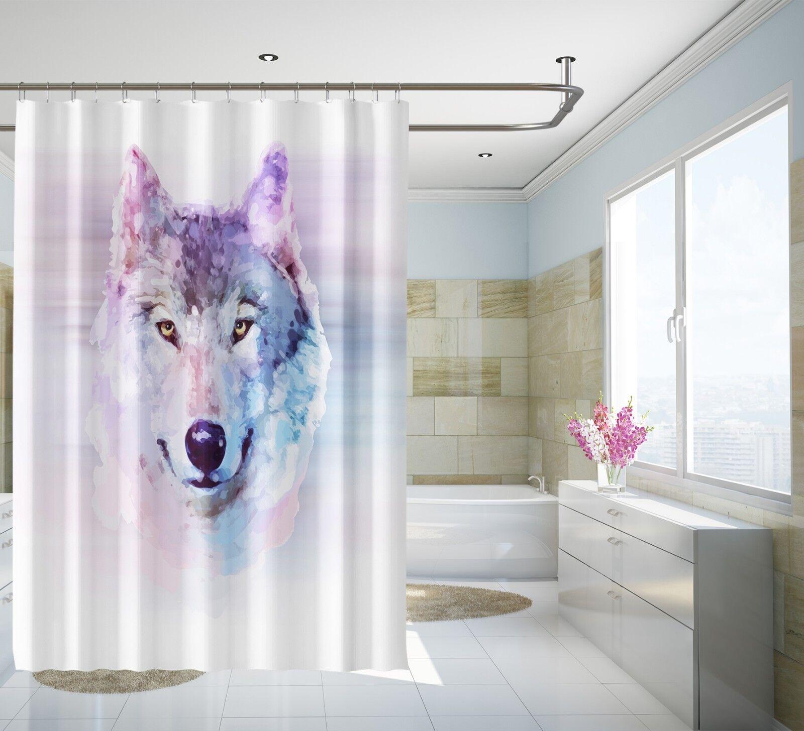3D Wolf Painting 89 Shower Curtain Waterproof Fiber Bathroom Home Windows Toilet