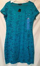 NWT Tiana B TEAL LACY Dress  W/ Scoop Neckline LINED SZ M MSRP  $98