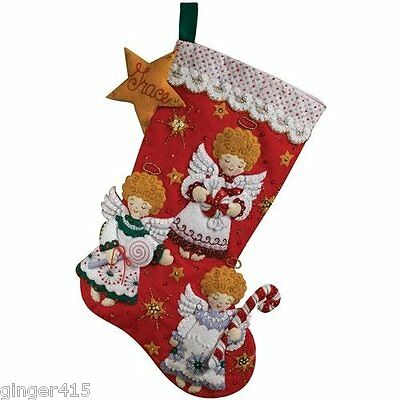 Bucilla CANDY ANGELS Felt Christmas Stocking Kit Discontinued 86259 New