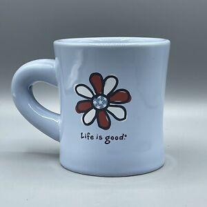 Life Is Good Coffee Mug Daisy Flower 12 oz Blue Ceramic Diner Like What You Do
