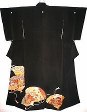 QUALITY BLACK SILK TOMESODE JAPANESE VINTAGE KIMONO HAND PAINTED FANS CARRIAGE